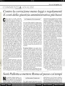 Contro la corruzione Milano finanza 14 aprile 2015